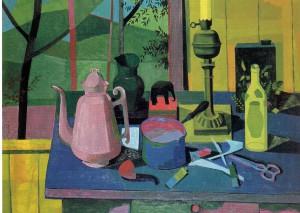 Theo Bitter, Stilleven met keukengerei en schildersattributen, begin jaren vijftig, olieverf op doek, 65 x 85 cm. Particuliere collectie