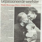 Van wieg tot graf. Gepassioneerde weefster Paula Boorsma-Dietz (1918-2012), AD Haagse Courant, woensdag 5 september 2012, door Nicolette van der Werff
